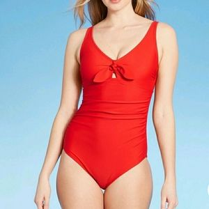 KONA SOL Tie Front High Coverage 1 Piece SwimSuit